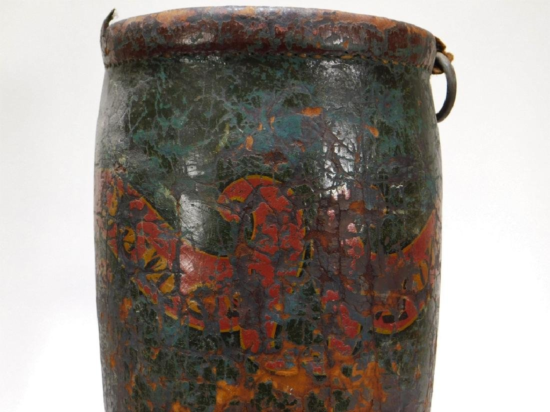 2 19C American Folk Painted Leather Fire Buckets - 6