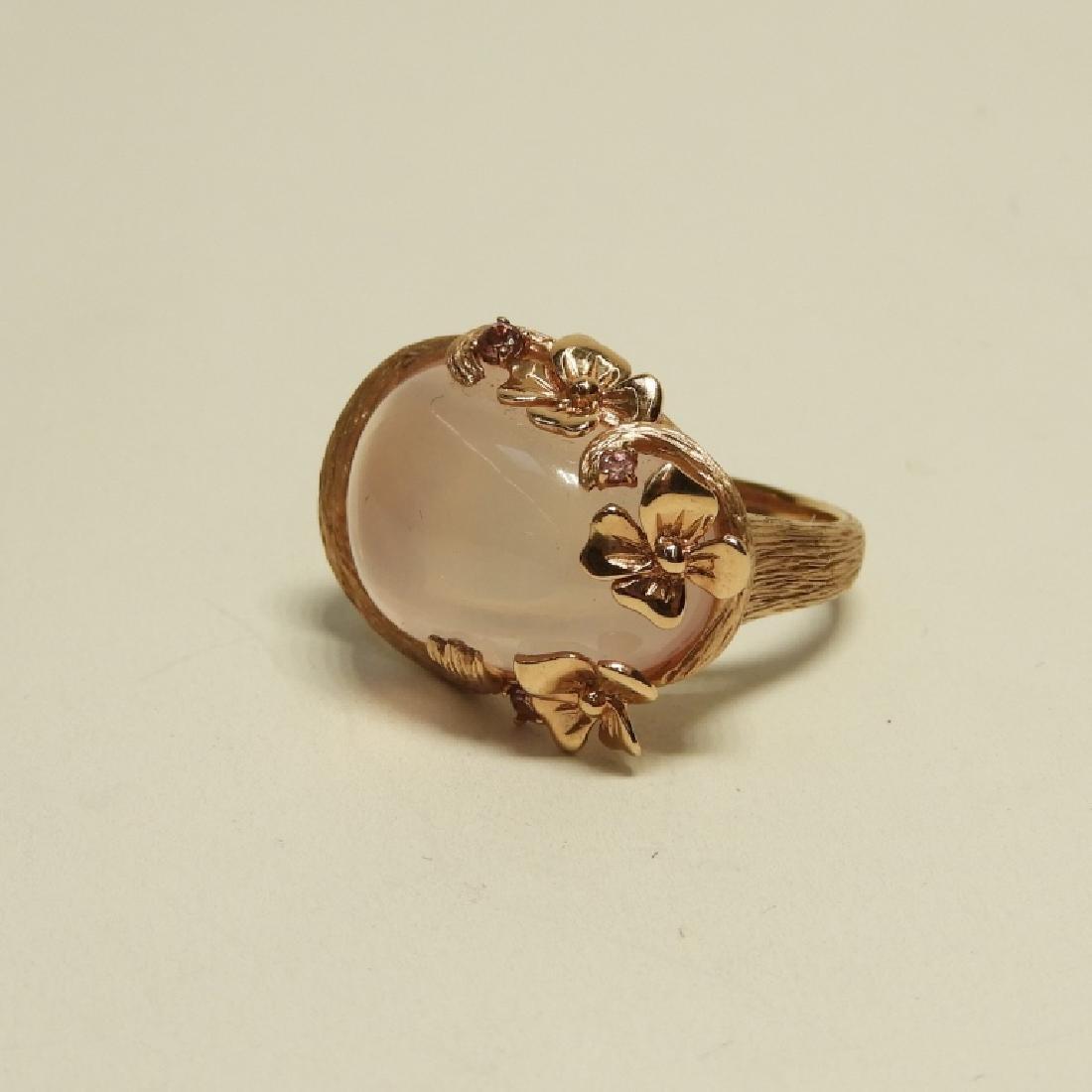 Pink Quartz Topaz 14K Rose Gold Ladies Ring