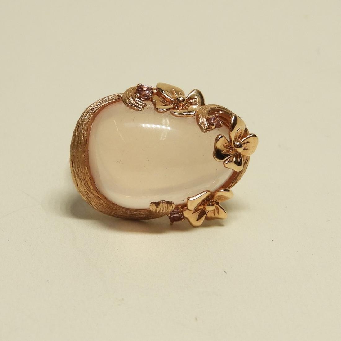 Pink Quartz Topaz 14K Rose Gold Ladies Ring - 2