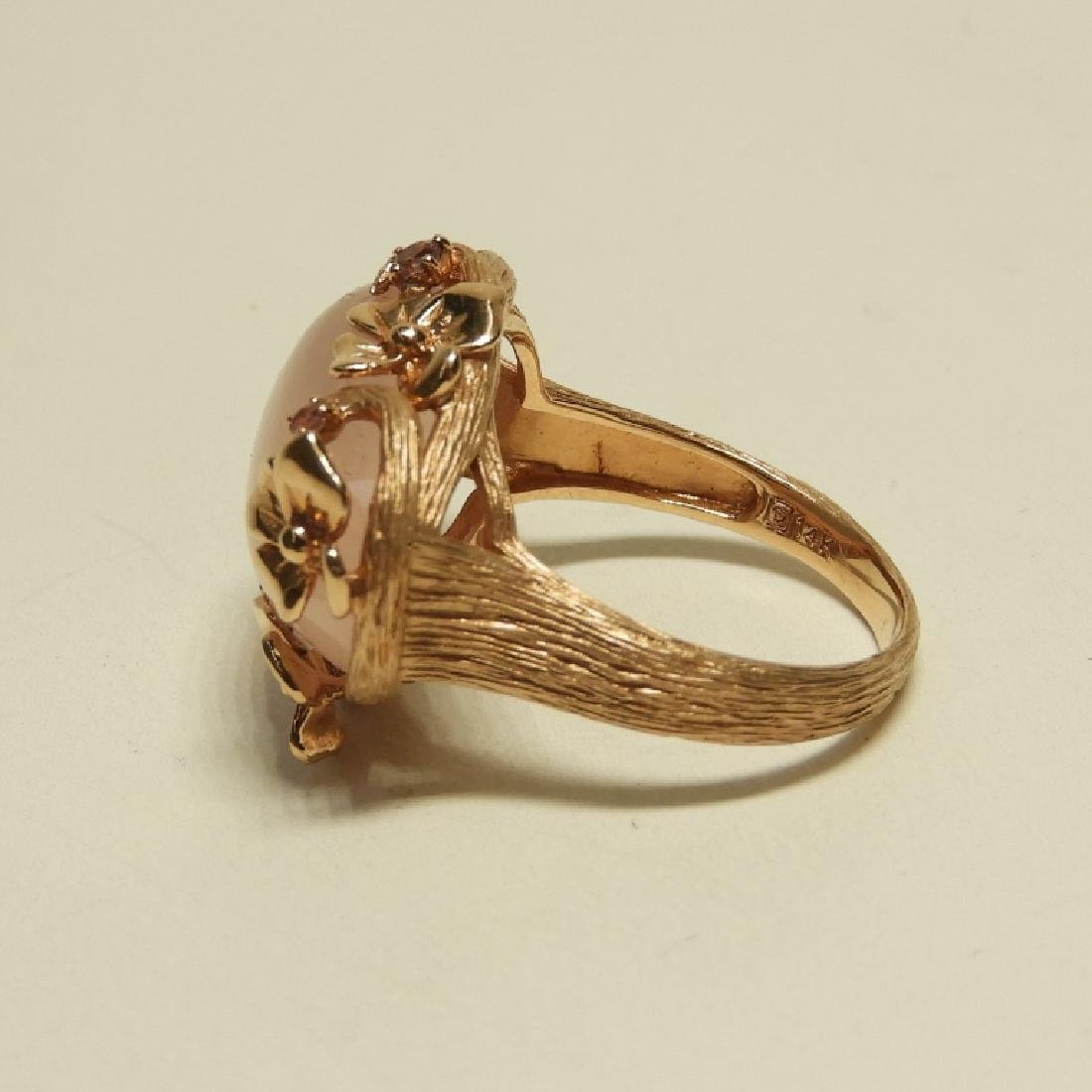 Pink Quartz Topaz 14K Rose Gold Ladies Ring - 3