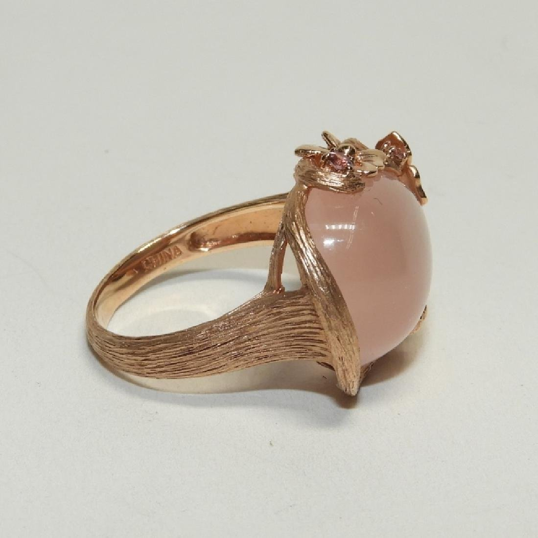 Pink Quartz Topaz 14K Rose Gold Ladies Ring - 4
