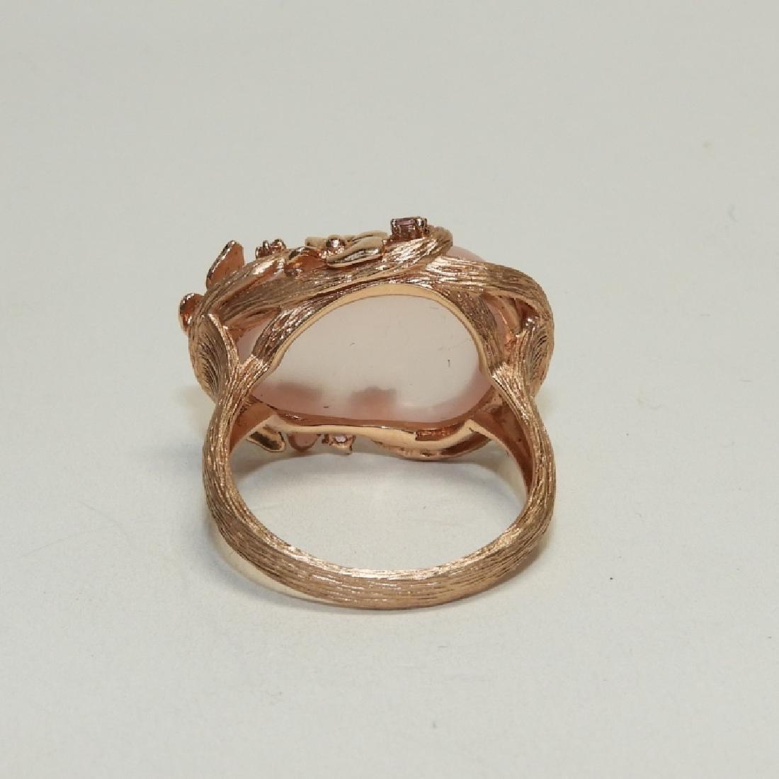 Pink Quartz Topaz 14K Rose Gold Ladies Ring - 5