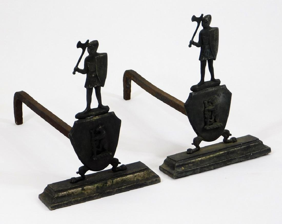 19C European Armorial Iron Knight Bear Andirons
