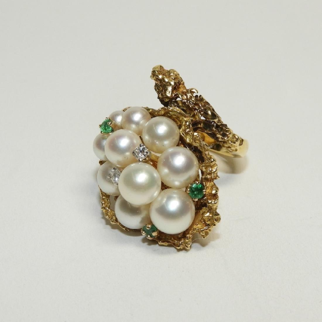 Pearl Diamond Emerald 18K Gold Fashion Ring