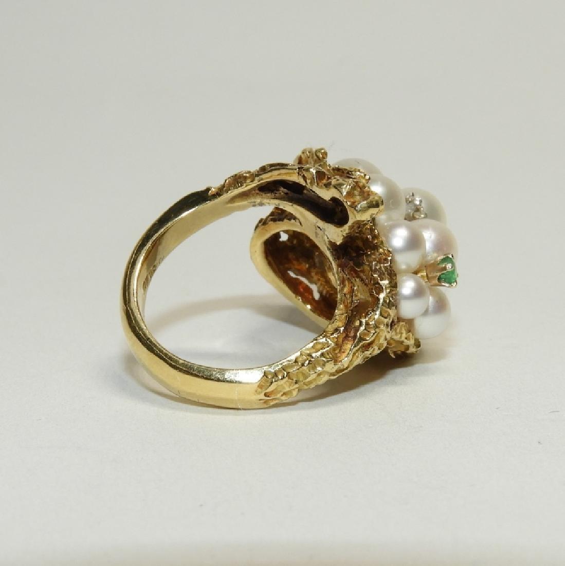 Pearl Diamond Emerald 18K Gold Fashion Ring - 4