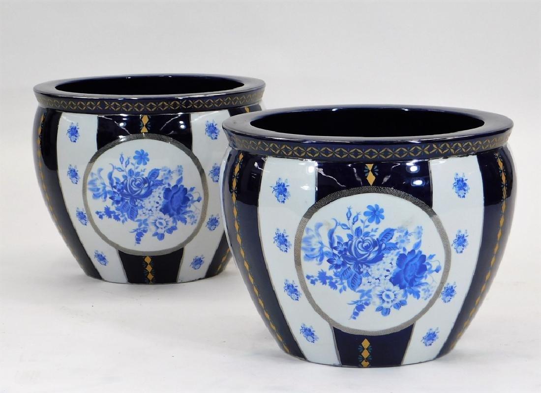 PR 19C European Blue & White Porcelain Jardenieres