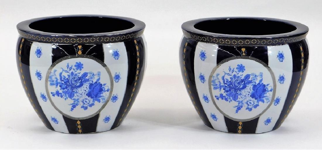 PR 19C European Blue & White Porcelain Jardenieres - 2