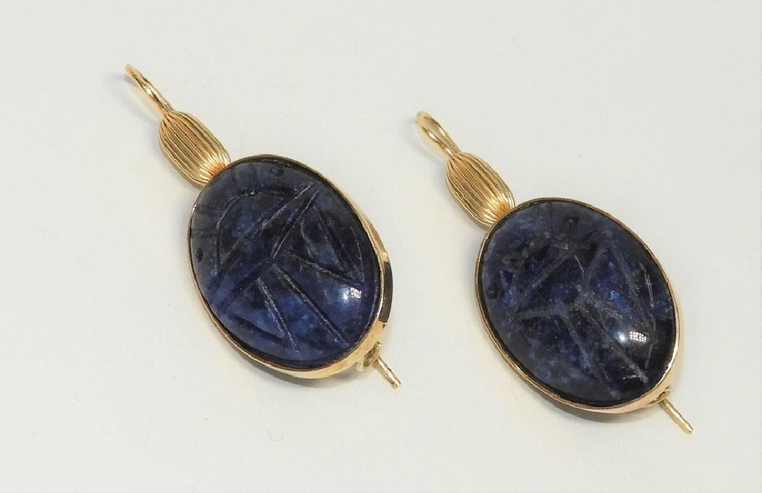 14K Gold & Sodalite Egyptian Scarab Earrings