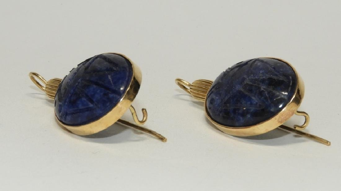 14K Gold & Sodalite Egyptian Scarab Earrings - 2