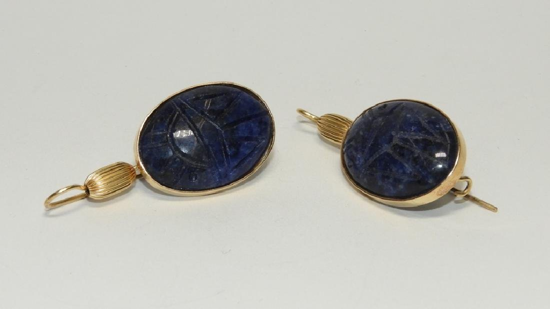 14K Gold & Sodalite Egyptian Scarab Earrings - 3