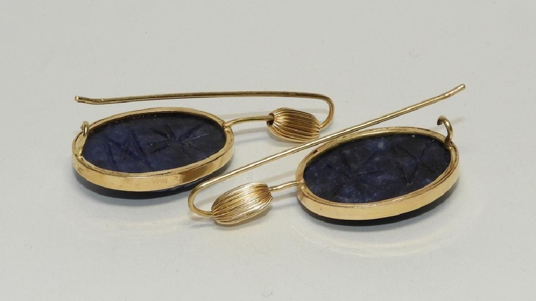 14K Gold & Sodalite Egyptian Scarab Earrings - 4