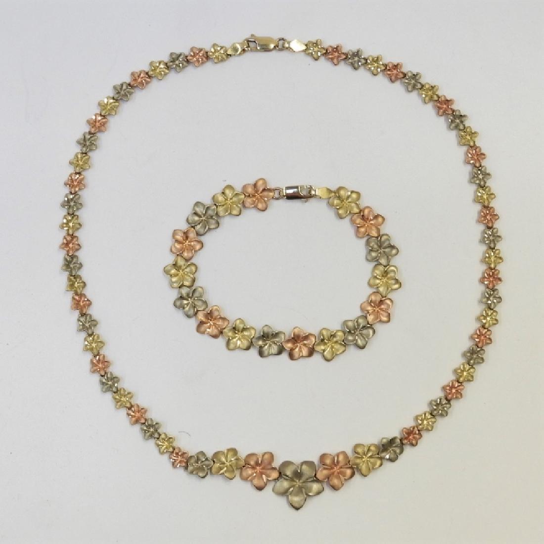 10K Tri Color Gold Leaf Chain Necklace Bracelet