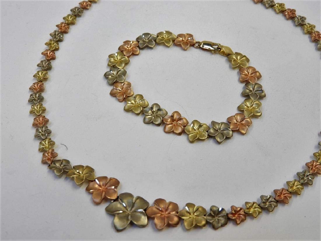 10K Tri Color Gold Leaf Chain Necklace Bracelet - 2
