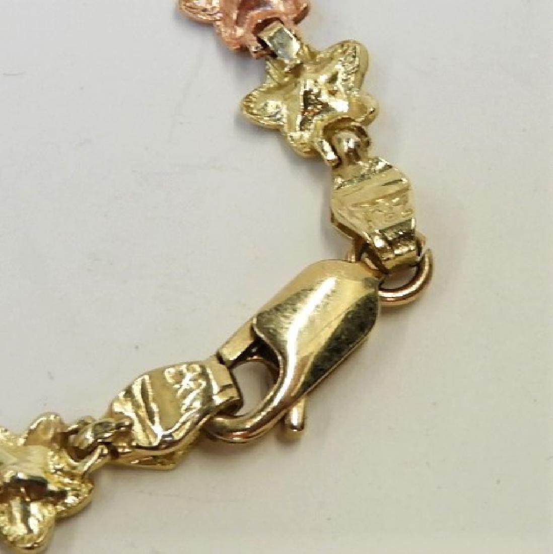 10K Tri Color Gold Leaf Chain Necklace Bracelet - 4