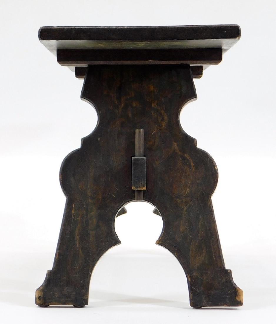 Fred Stuart Green Arts & Crafts Pyrography Bench - 3