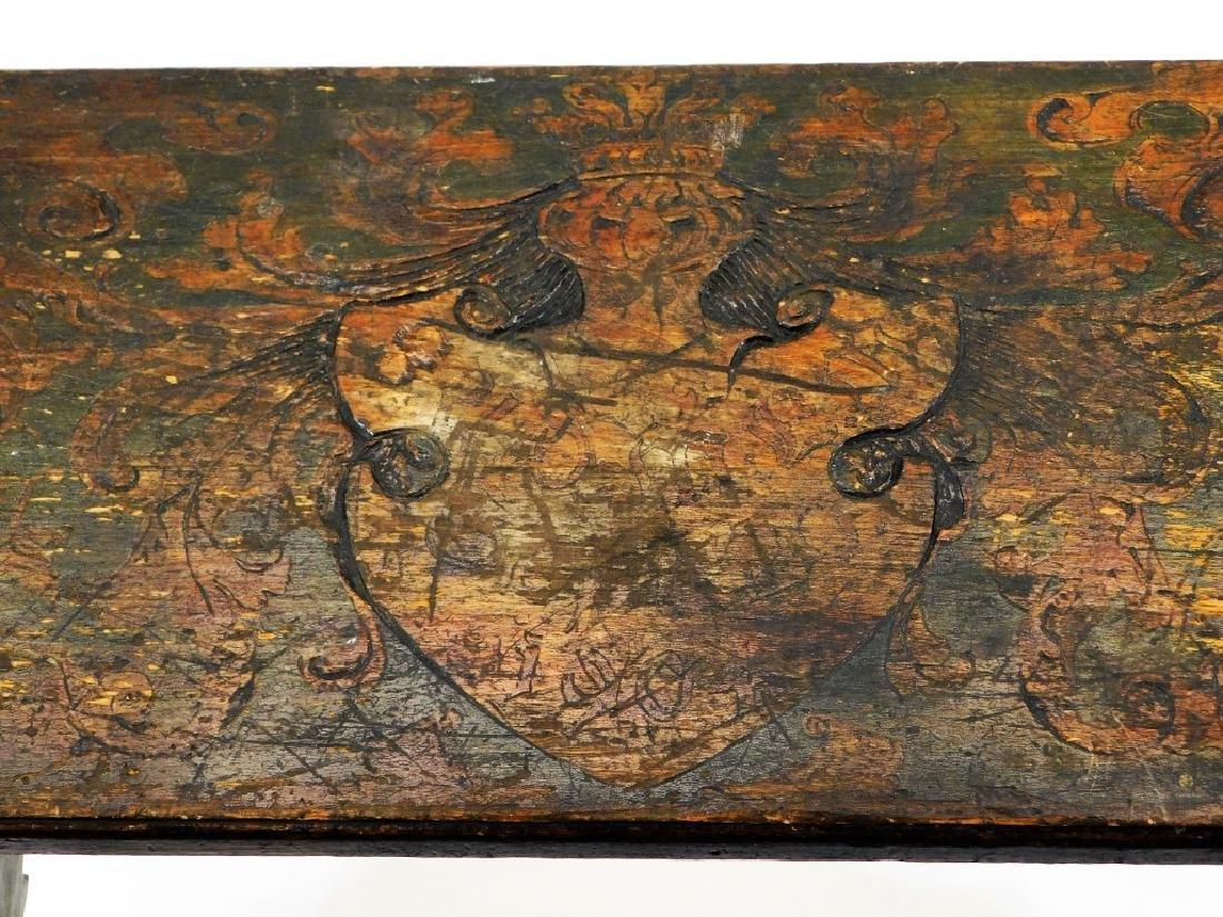 Fred Stuart Green Arts & Crafts Pyrography Bench - 4