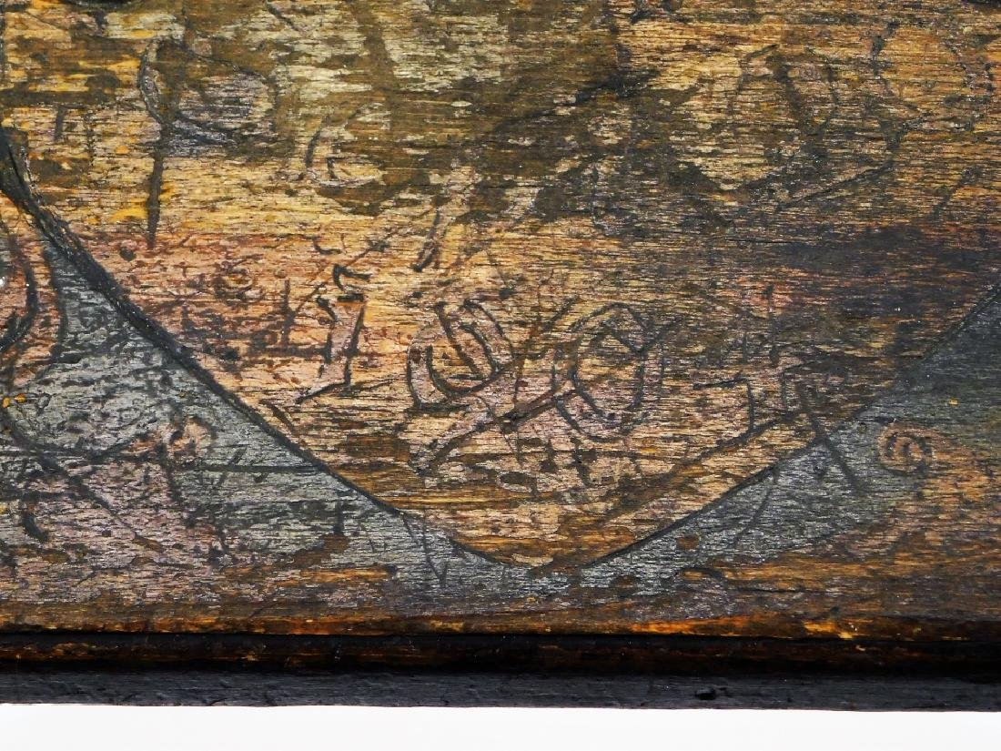 Fred Stuart Green Arts & Crafts Pyrography Bench - 5