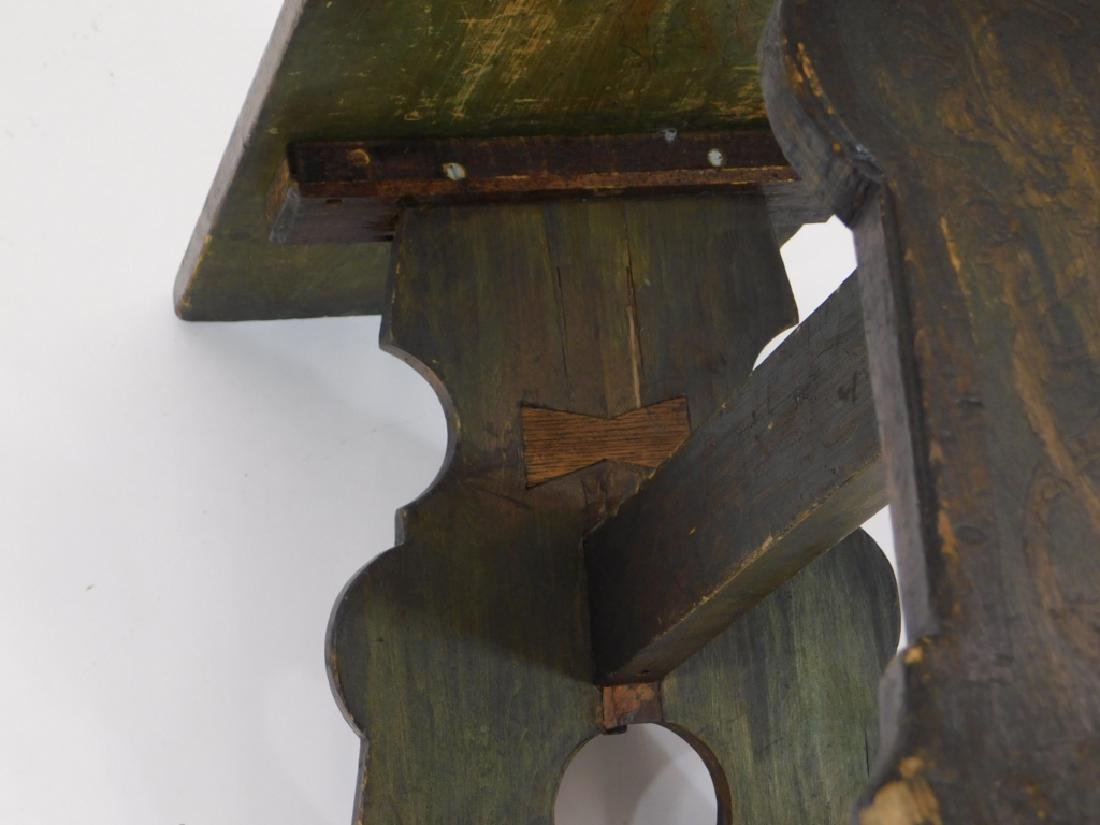 Fred Stuart Green Arts & Crafts Pyrography Bench - 6
