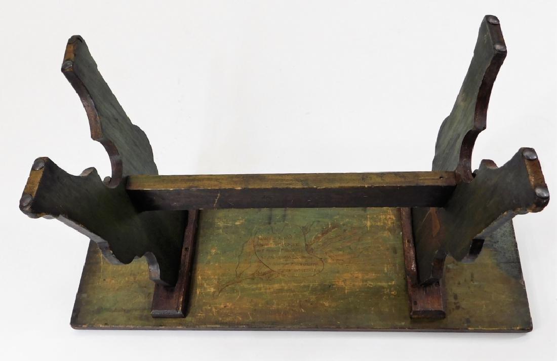 Fred Stuart Green Arts & Crafts Pyrography Bench - 7