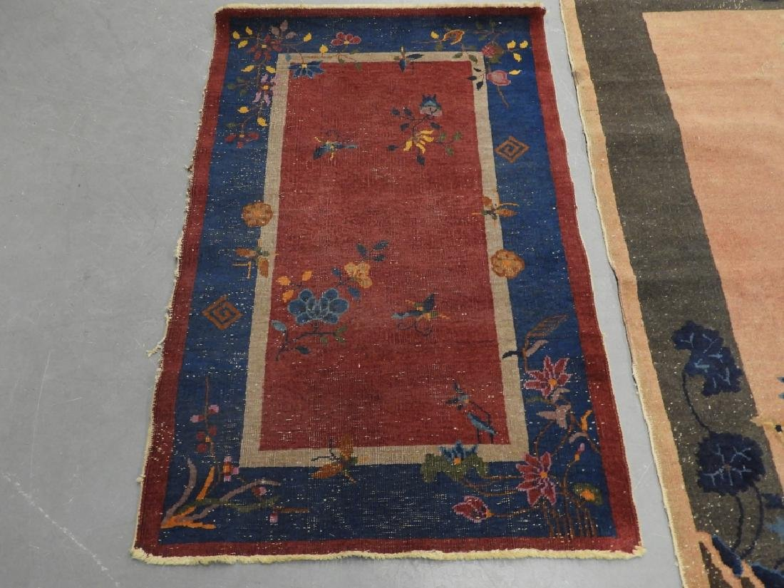 3 Chinese Art Deco Blue Yellow Wool Rug Carpets - 2