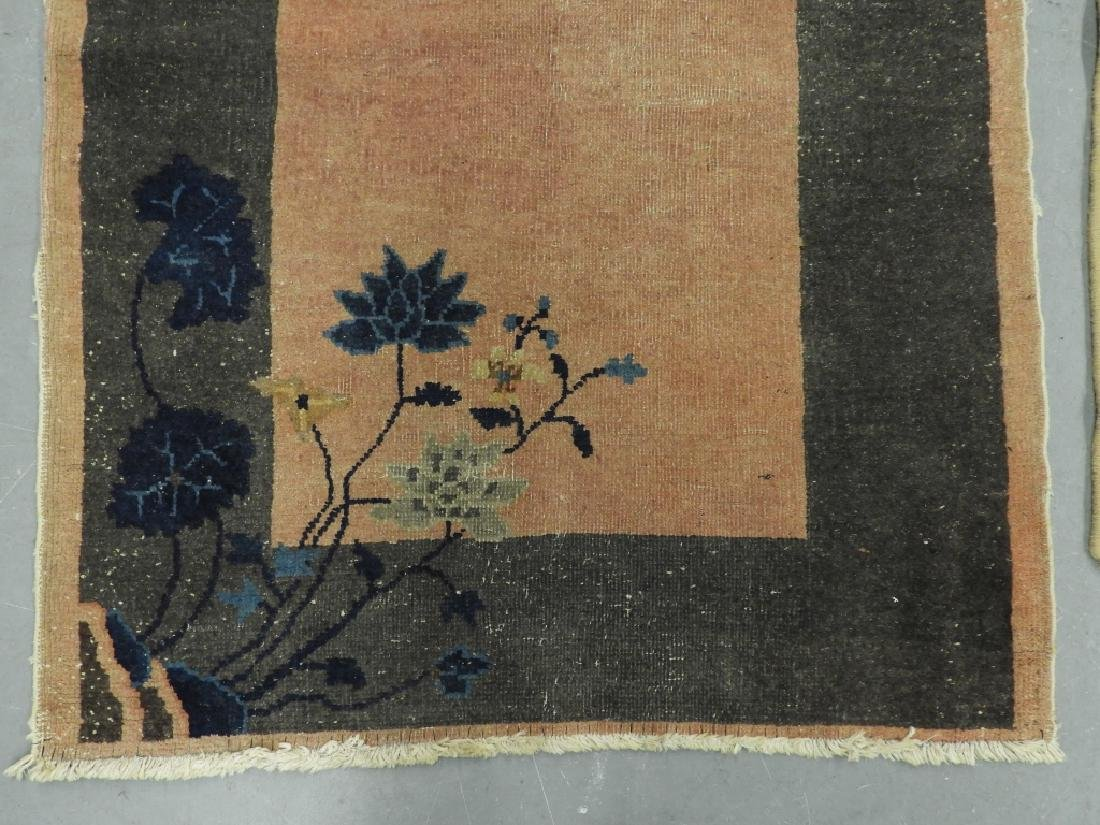 3 Chinese Art Deco Blue Yellow Wool Rug Carpets - 5