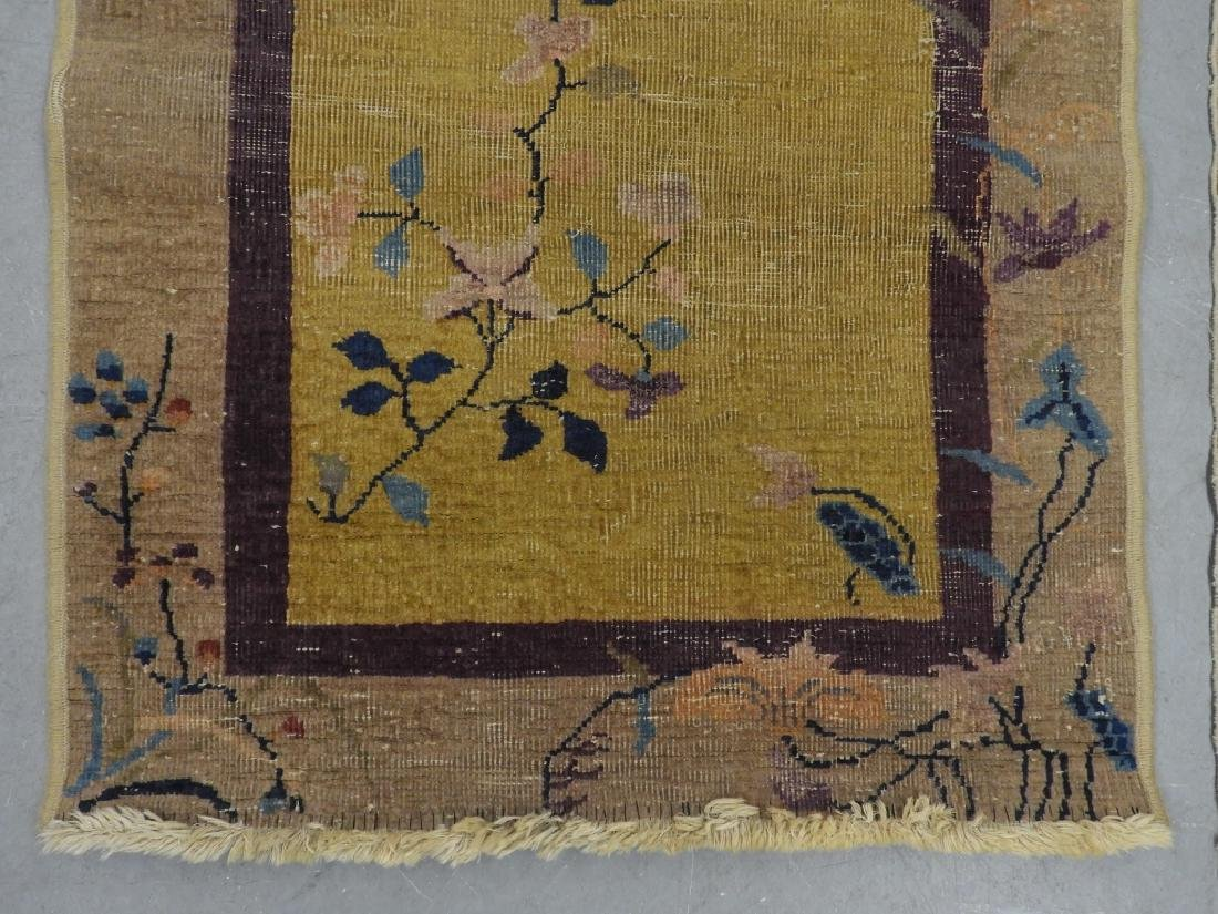 3 Chinese Art Deco Blue Yellow Wool Rug Carpets - 8