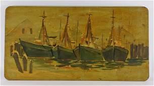 American Folk Art Maritime Harbor Painted Table