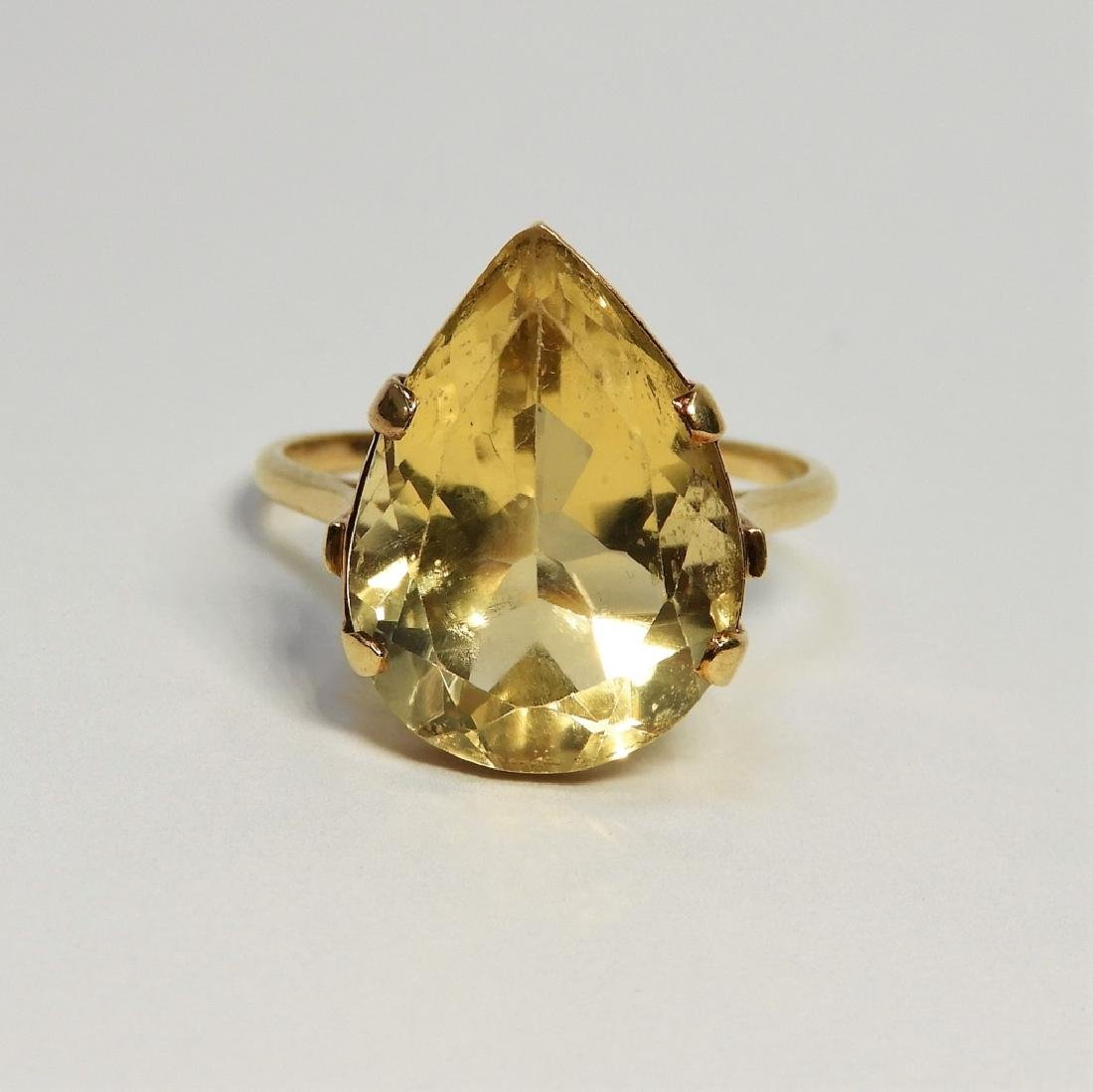 Large Pear Citrine & 14K Gold Lady's Evening Ring