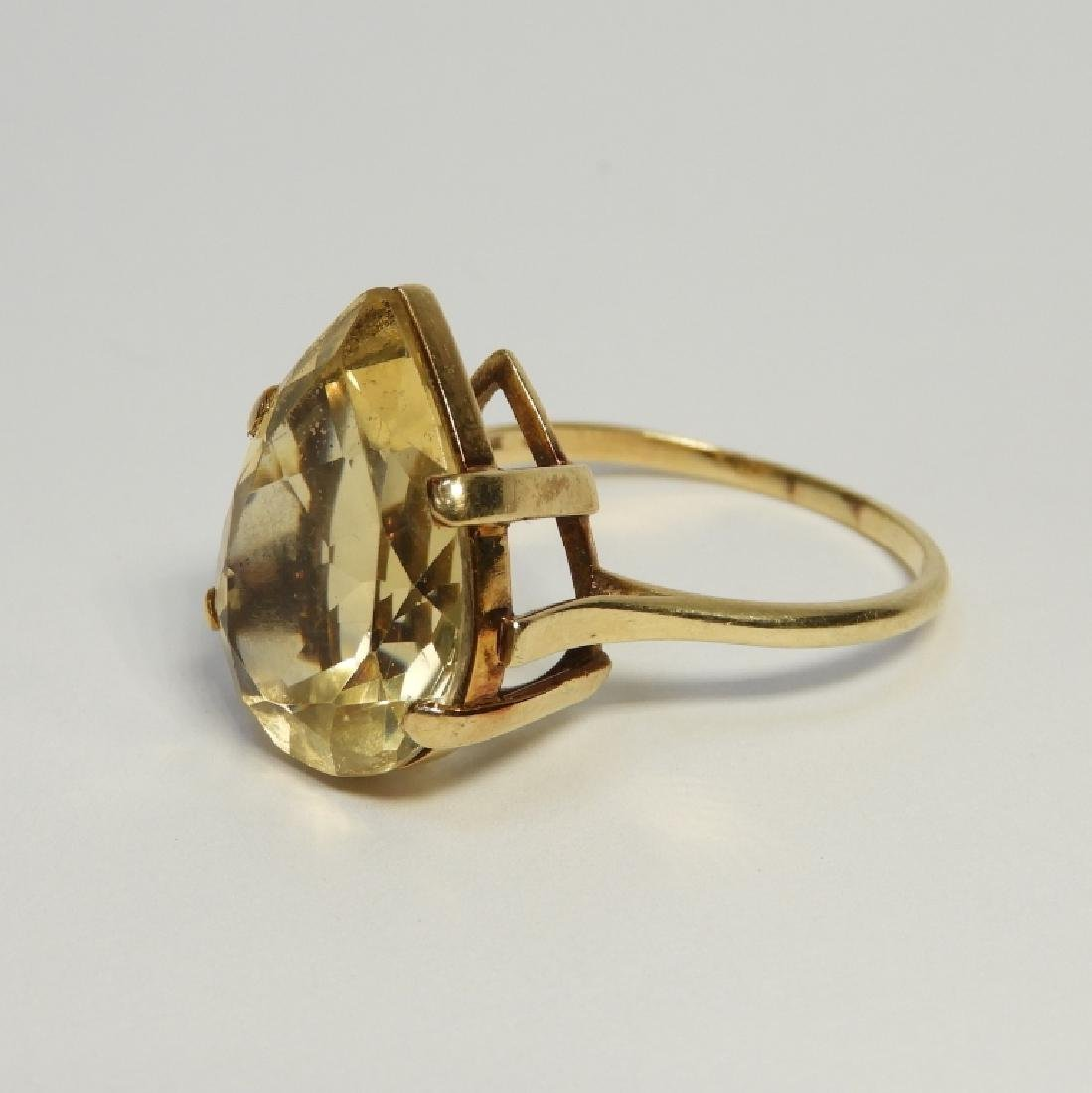 Large Pear Citrine & 14K Gold Lady's Evening Ring - 2