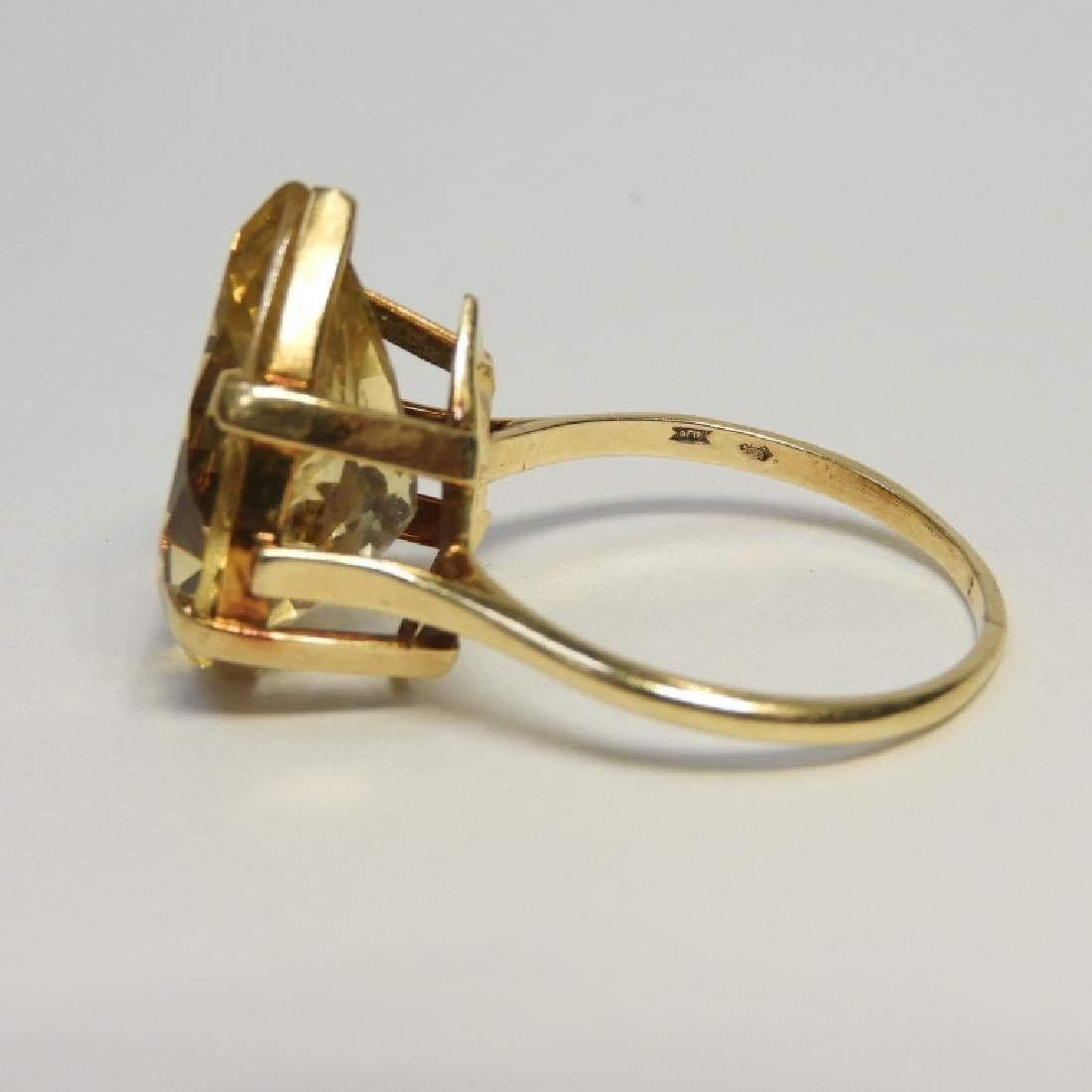 Large Pear Citrine & 14K Gold Lady's Evening Ring - 3