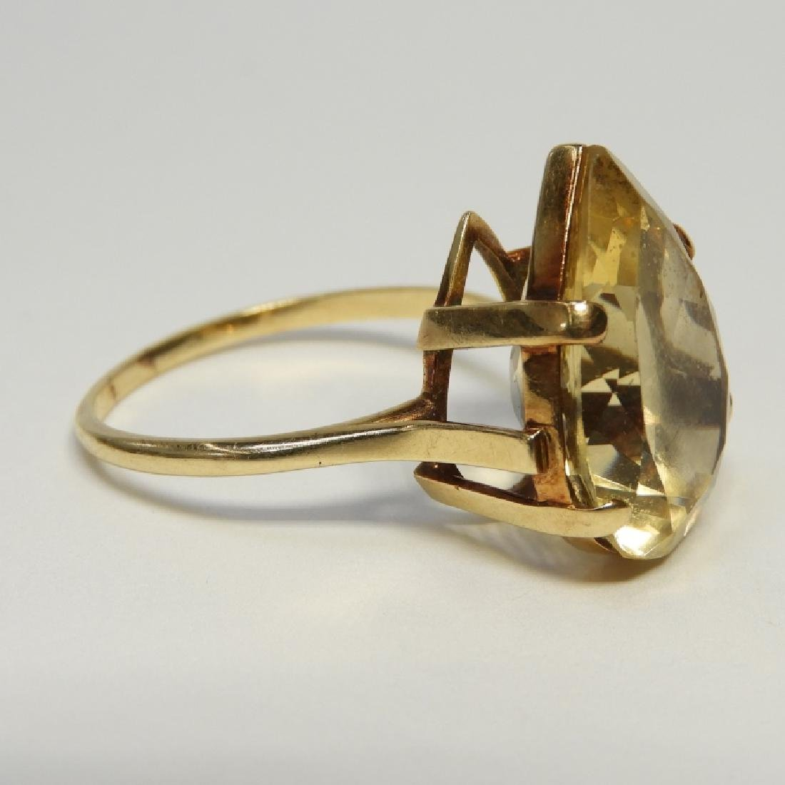 Large Pear Citrine & 14K Gold Lady's Evening Ring - 4