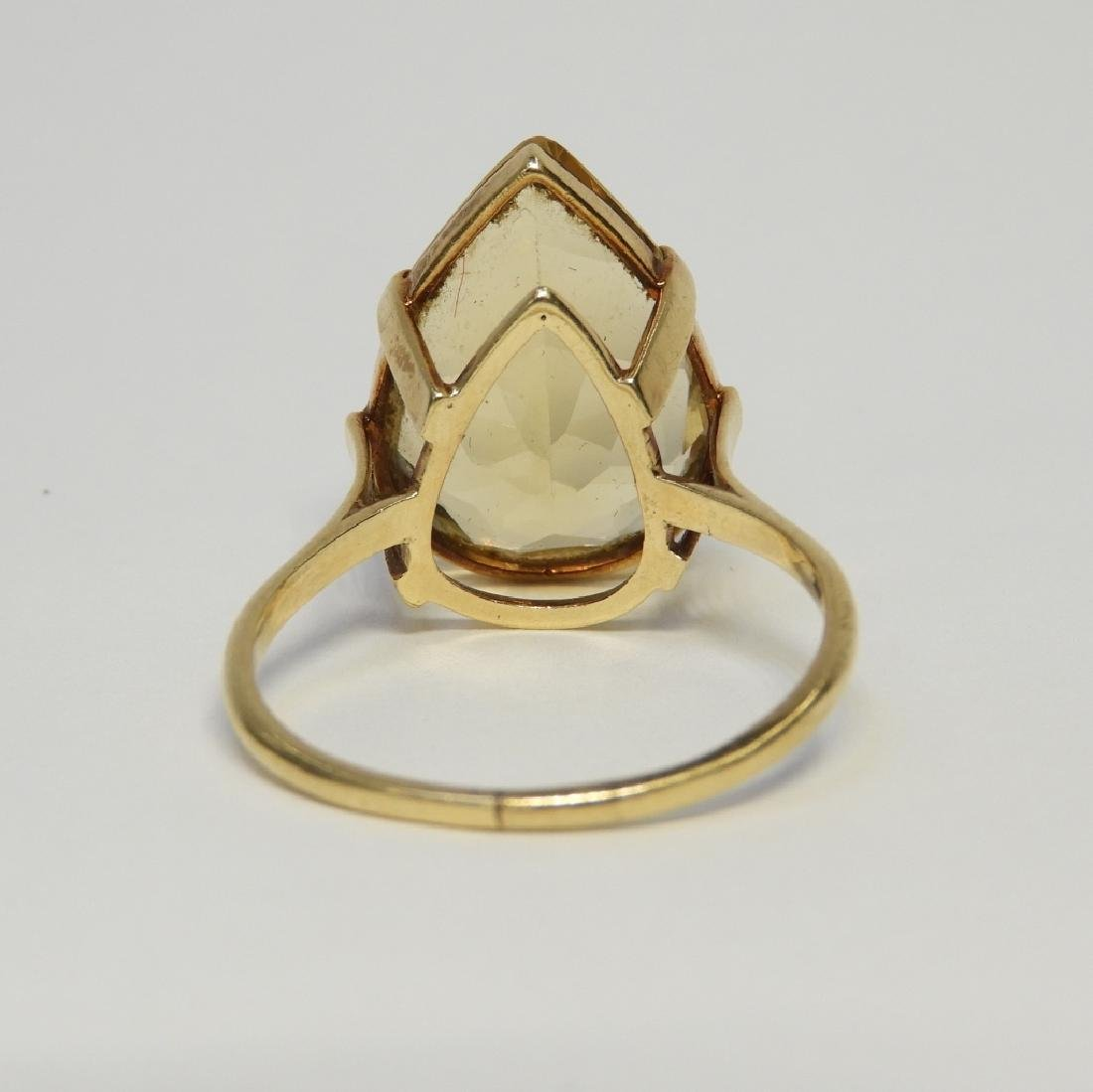 Large Pear Citrine & 14K Gold Lady's Evening Ring - 5