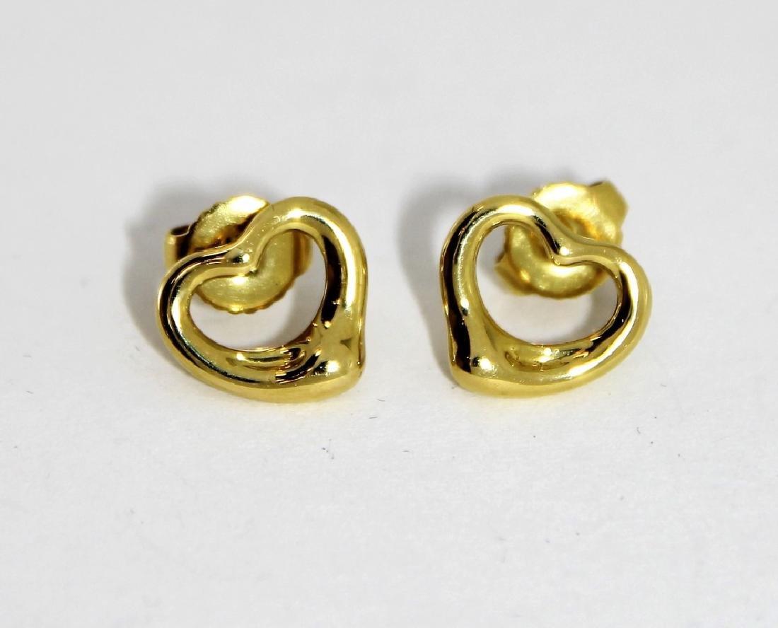 Elsa Peretti Tiffany & Co 18K Gold Heart Earrings