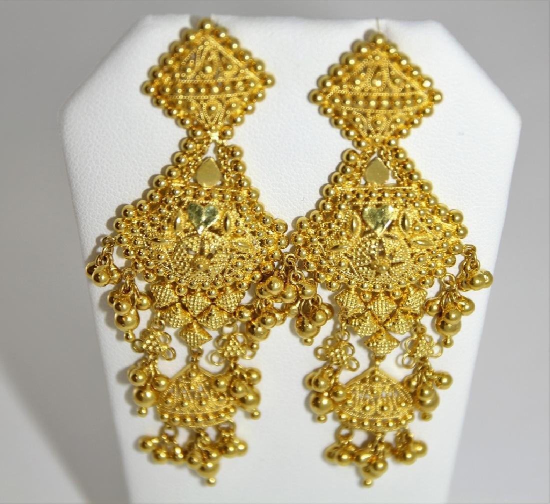 PR Indian Mugal Style 22K Gold Drop Earrings