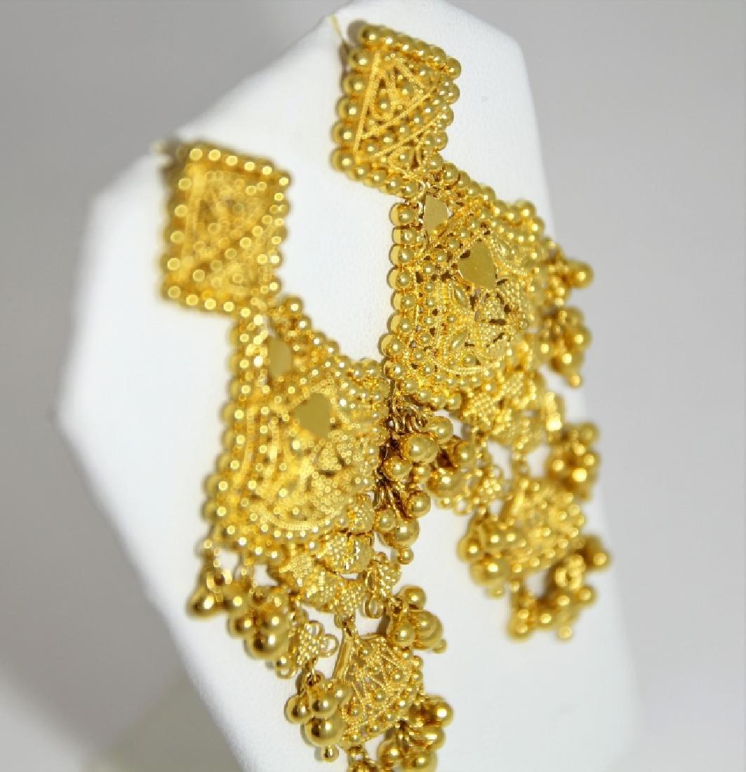 PR Indian Mugal Style 22K Gold Drop Earrings - 2