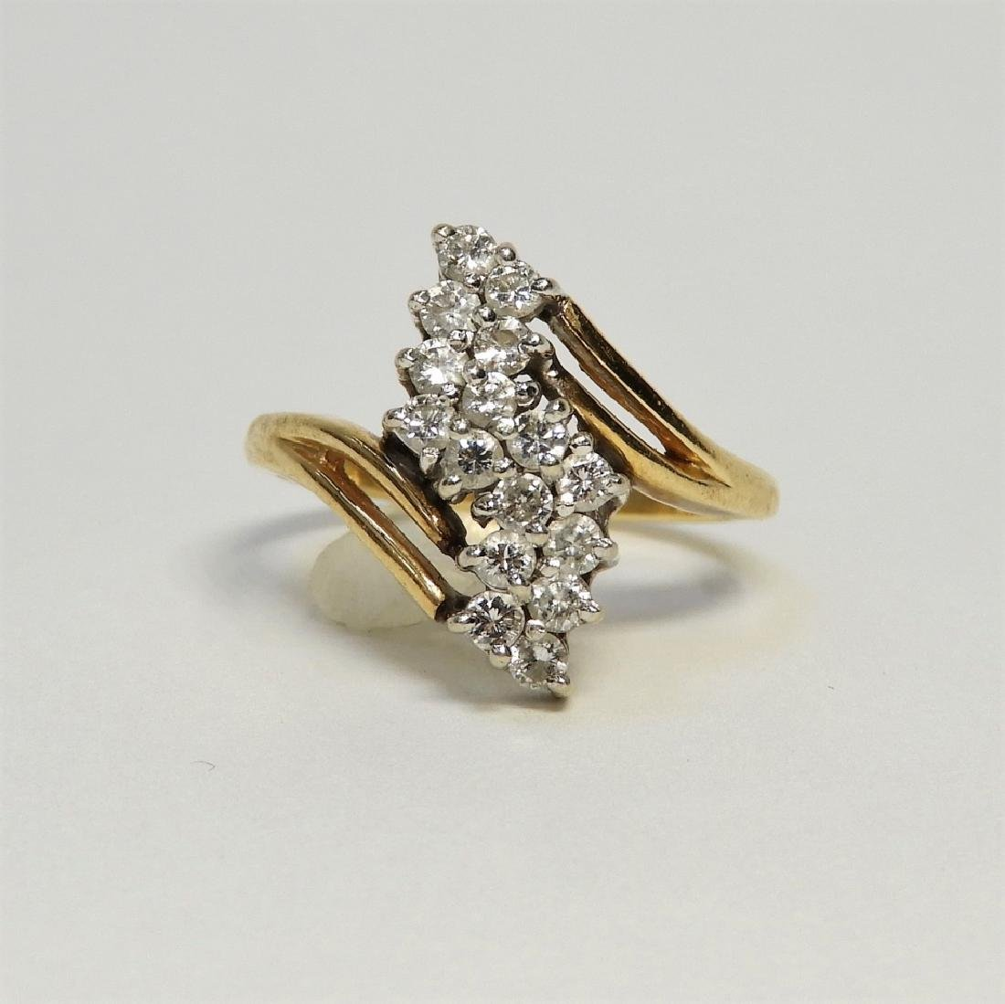 14K Yellow Gold & Diamond Lady's Cluster Ring