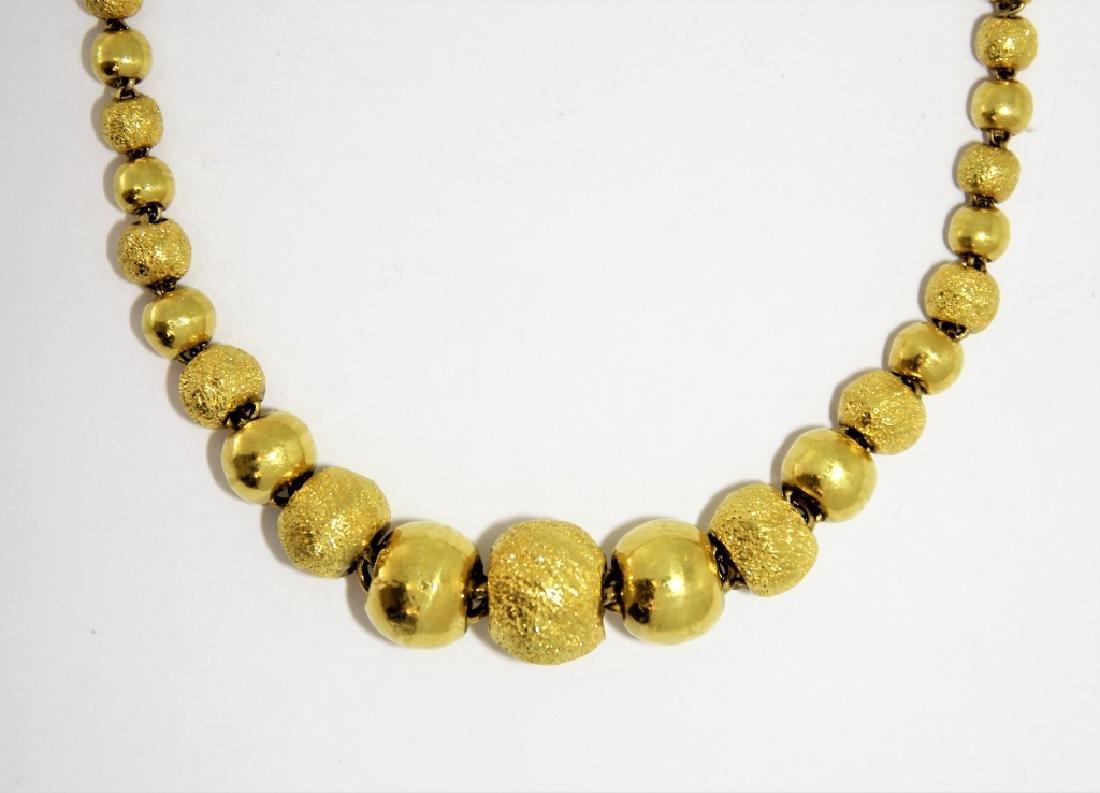 22K Gold Indian Stippled & Polished Bead Necklace