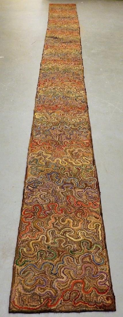 Molly Nye Toby Folk Art Hooked Rug Runner 22'