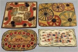 4 Molly Nye Toby Fabric Folk Art Hooked Rugs