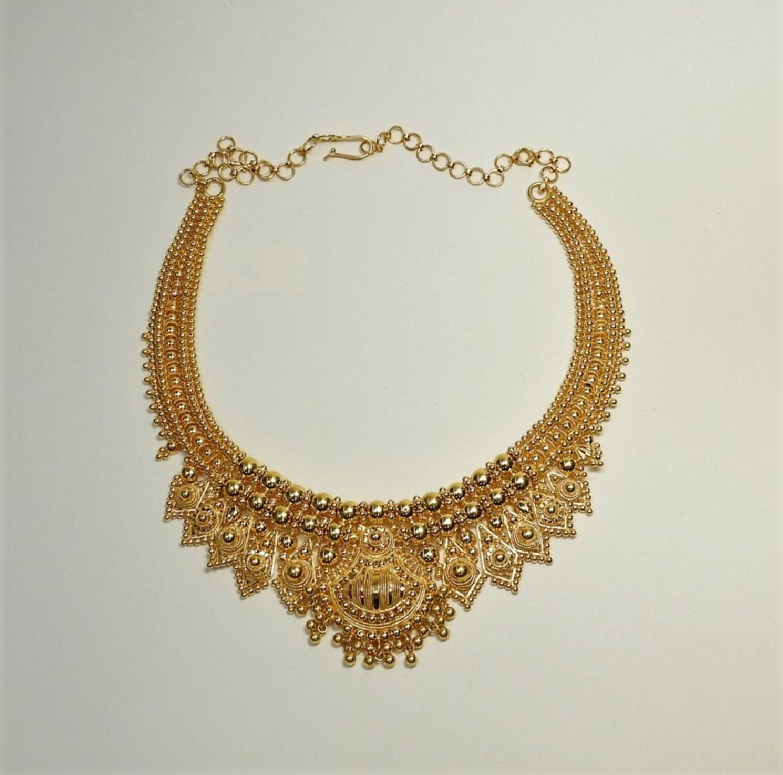 Indian Mughal Style 22K High Style Gold Necklace - 2