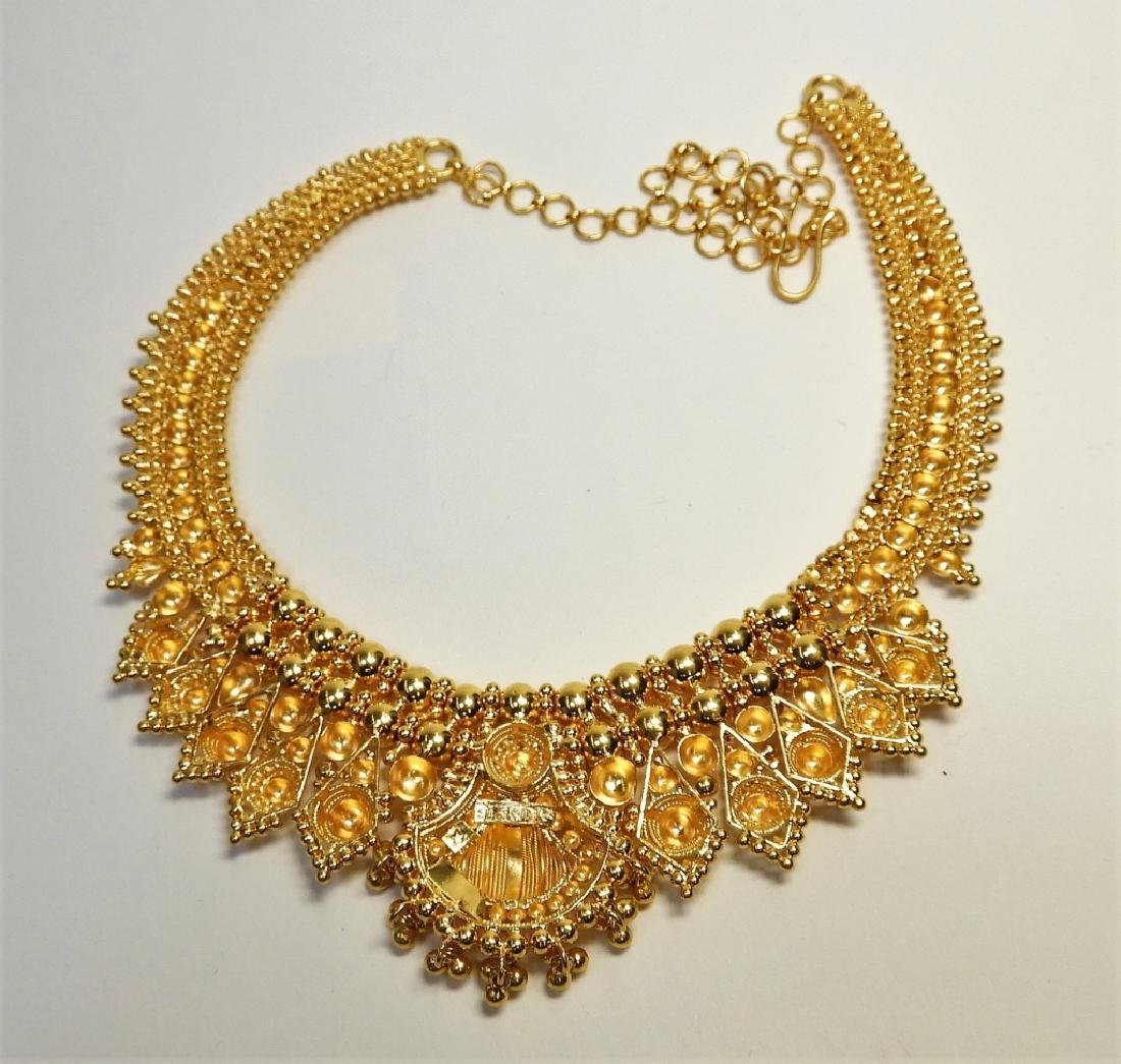 Indian Mughal Style 22K High Style Gold Necklace - 3