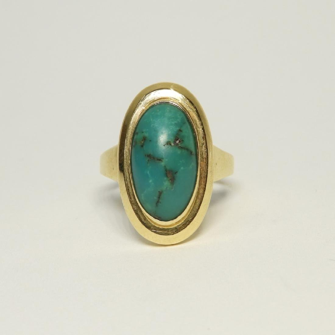 14K Yellow Gold & Turquoise Cabochon Stone Ring