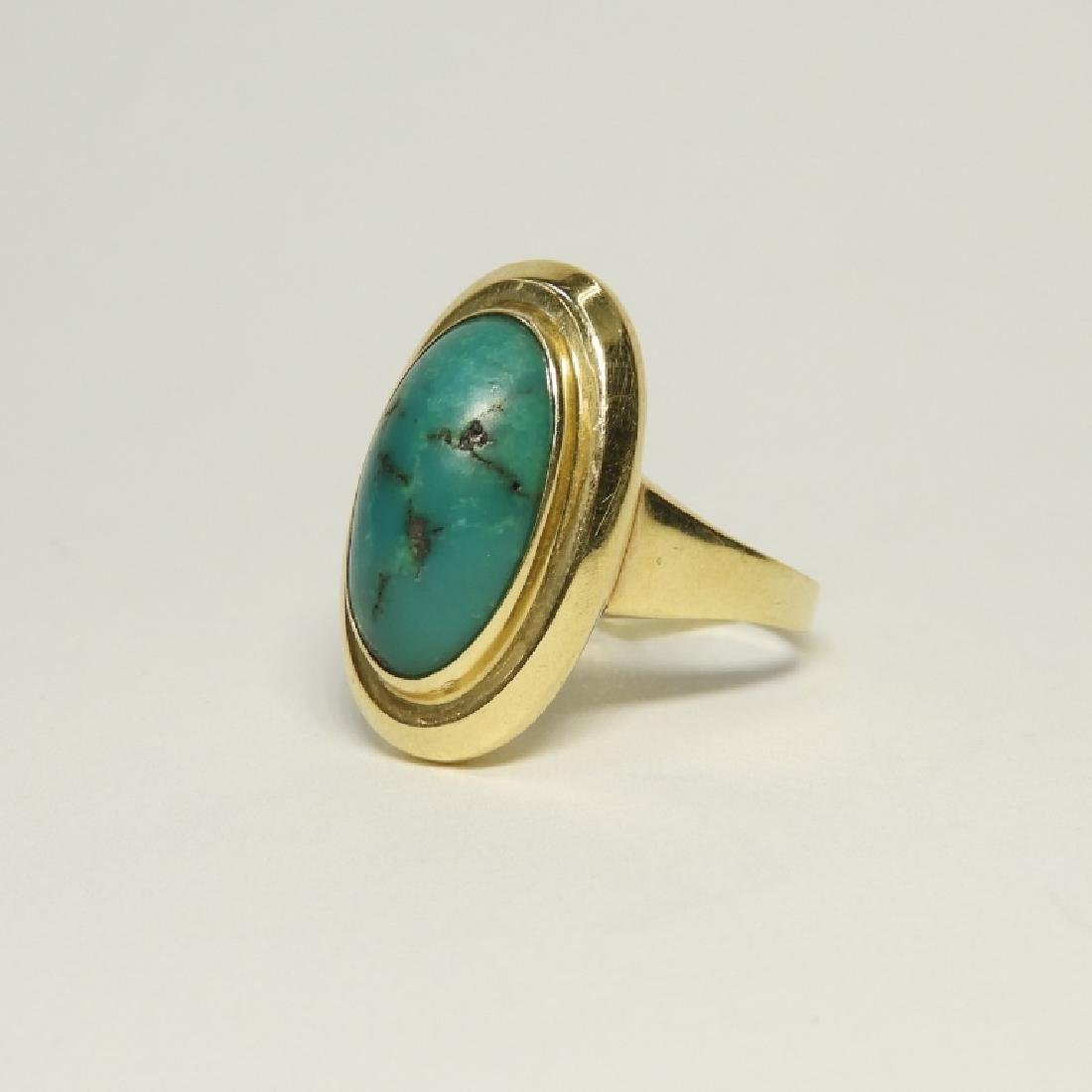 14K Yellow Gold & Turquoise Cabochon Stone Ring - 2