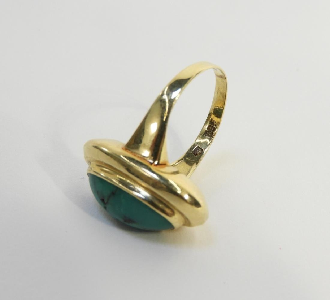 14K Yellow Gold & Turquoise Cabochon Stone Ring - 3