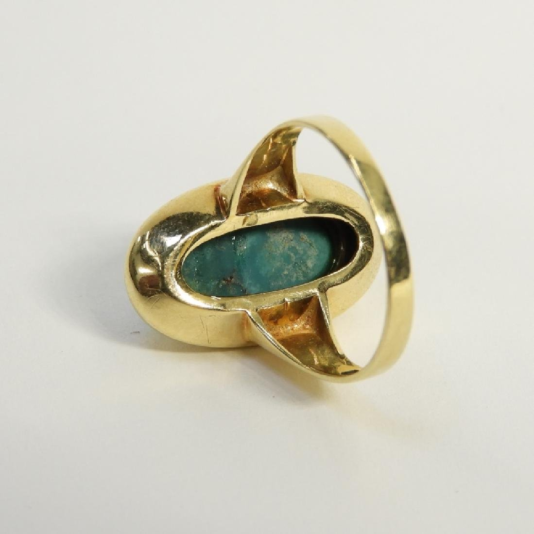 14K Yellow Gold & Turquoise Cabochon Stone Ring - 4