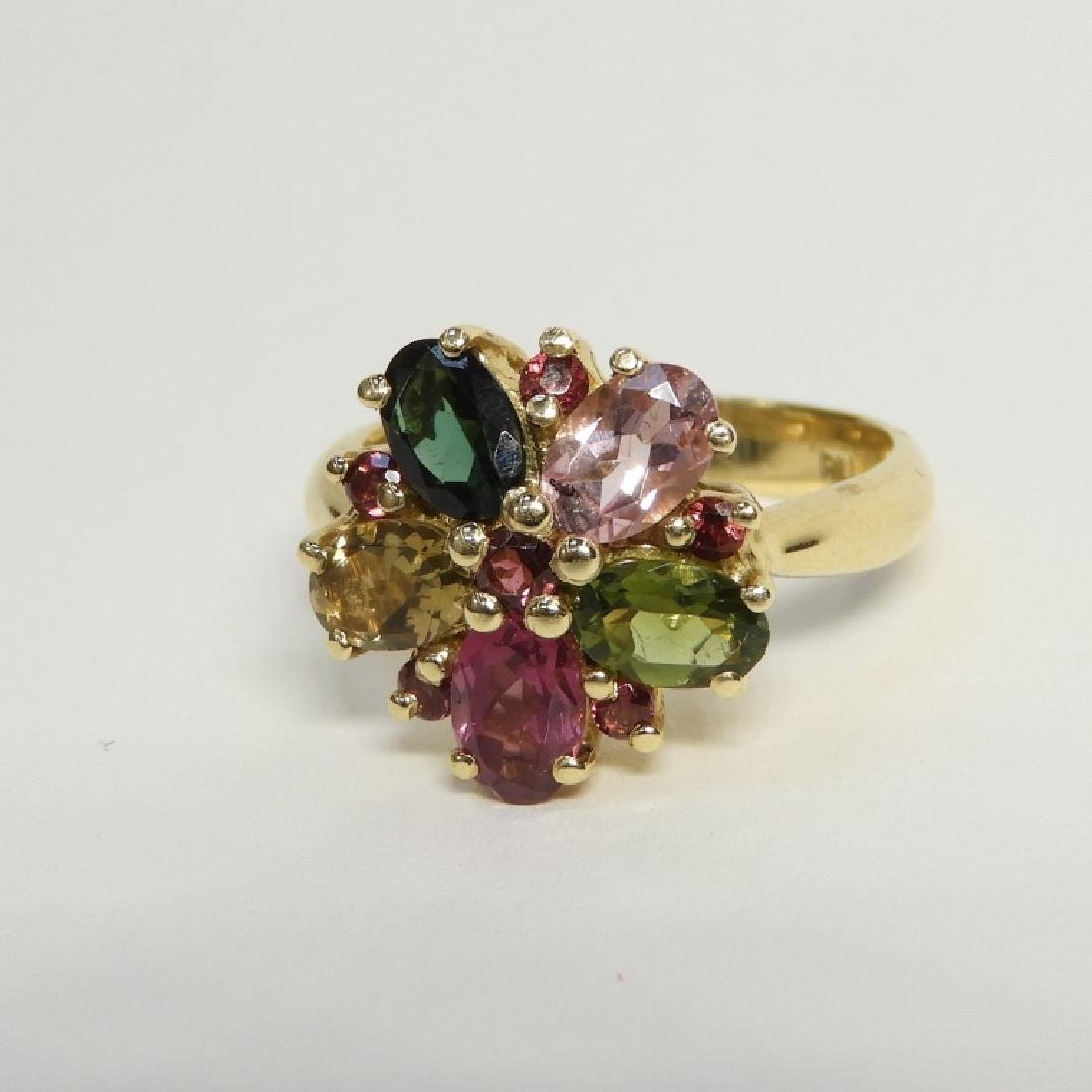 Estate Tourmaline Peridot Gem Stone 14K Gold Ring