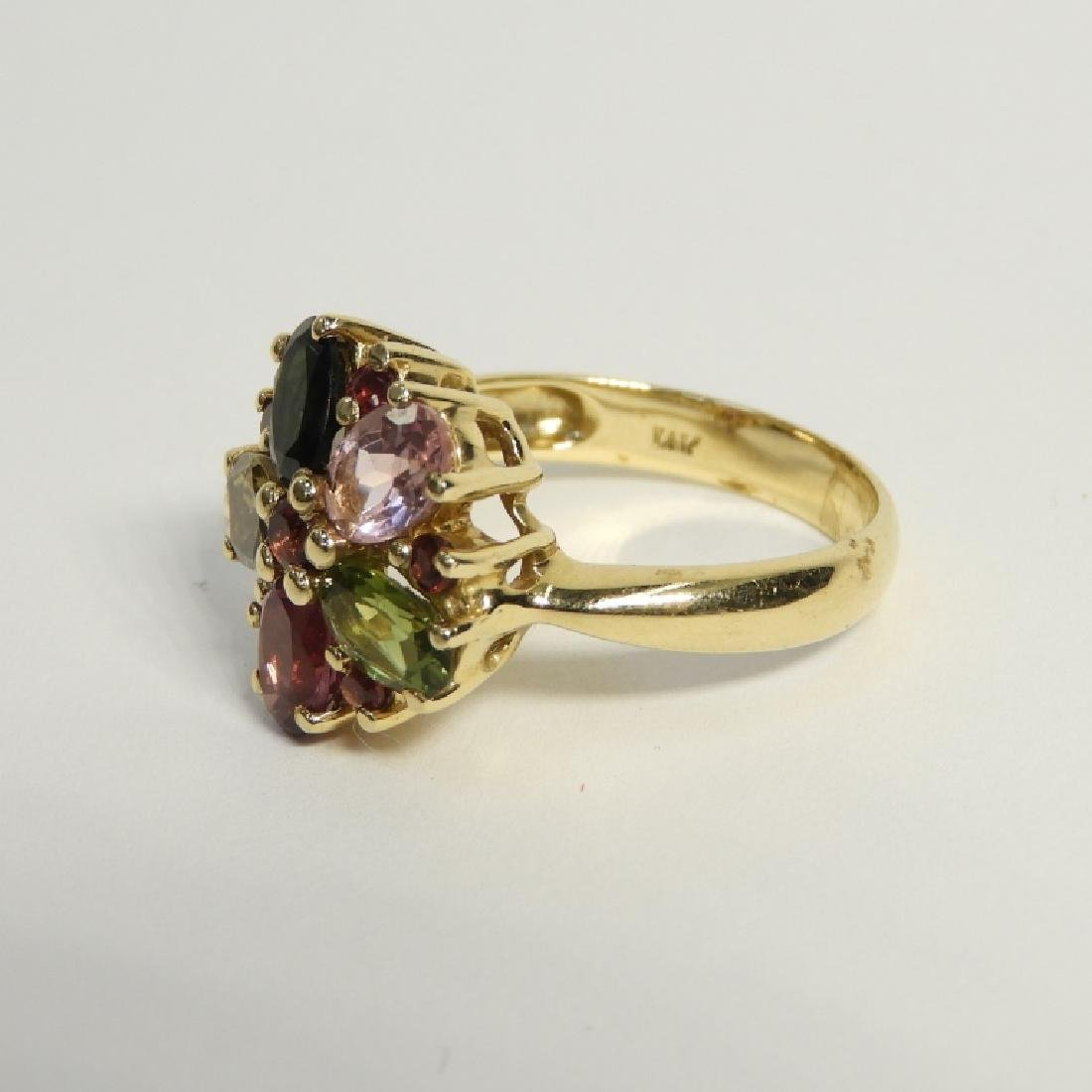 Estate Tourmaline Peridot Gem Stone 14K Gold Ring - 3