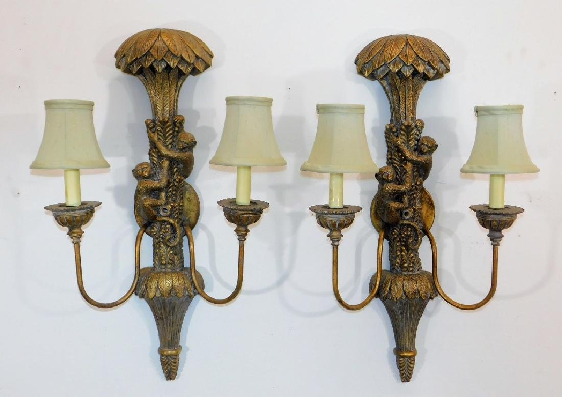 PR Lampcrafters Gilt Monkey Palm Tree Wall Sconce