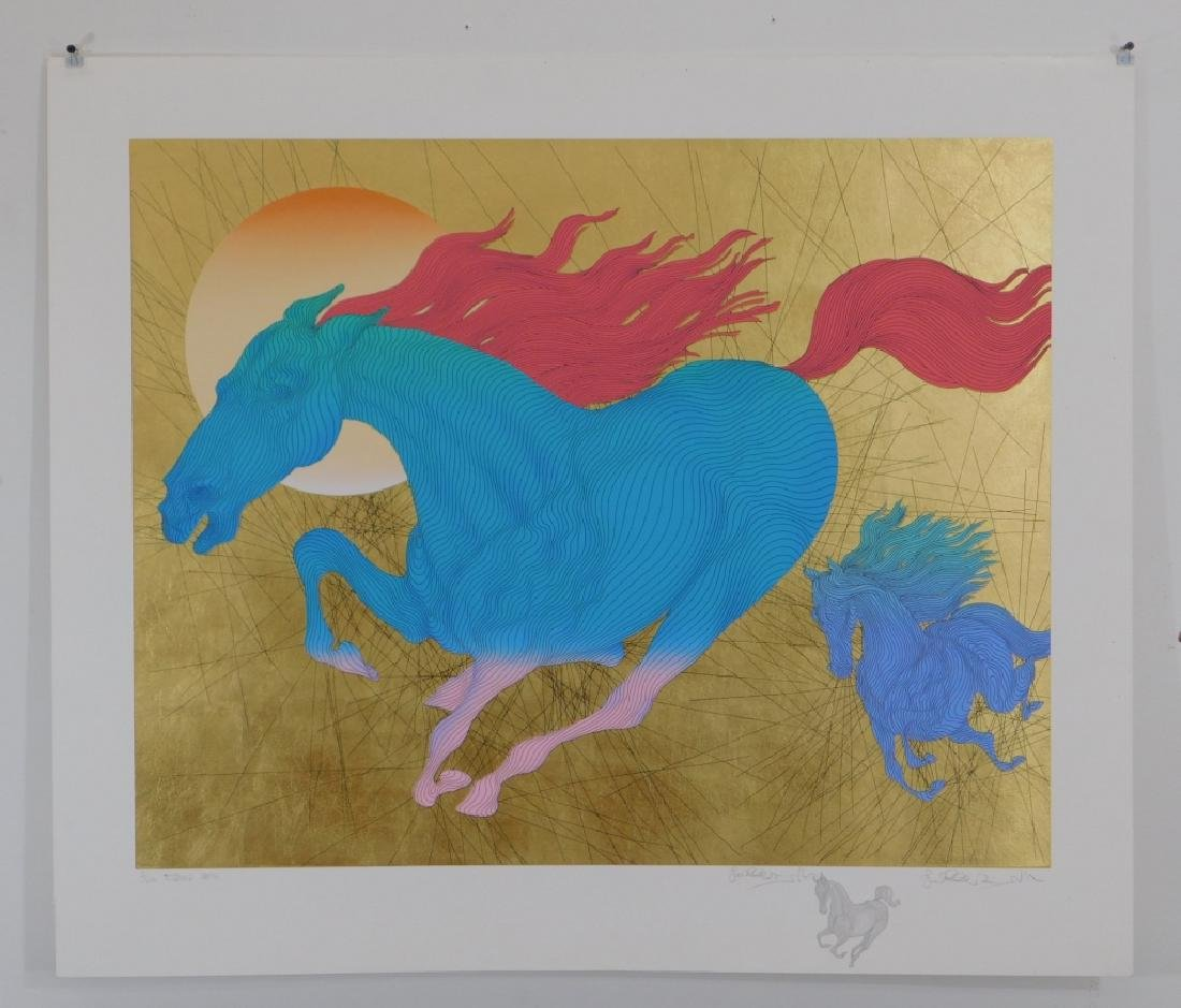 Guillaume Azoulay Modernist Horses Equus Serigraph - 2