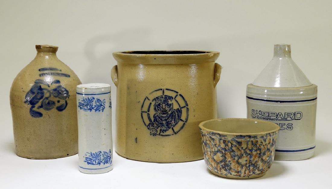 5PC Primitive Blue Slip Stoneware Jug Crock Bowl